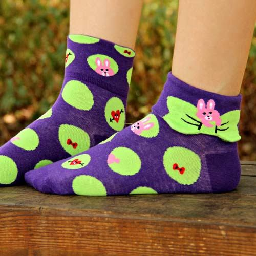 bunny-rabbit-polka-dot-and-bow-tie-animal-graphic-print-cotton-short-socks-for-women