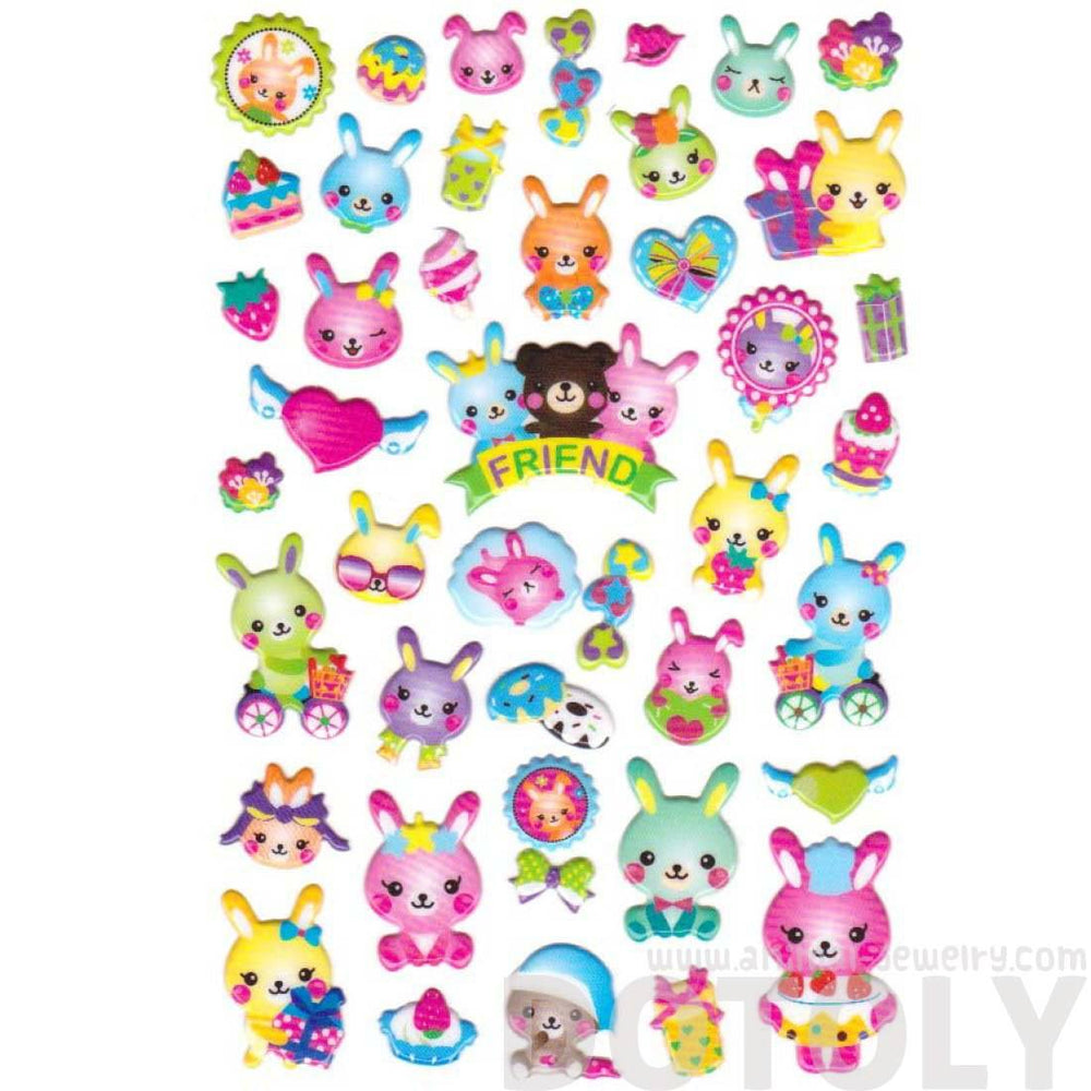 Bunny Rabbit Present Cakes and Gifts Shaped Stickers