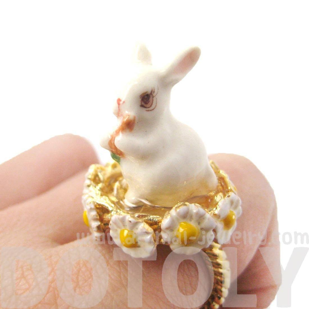 Bunny Rabbit Shaped Ceramic Porcelain Handmade Animal Ring in Gold