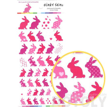 Bunny Rabbit Silhouette Animal Polka Dot Decorative Stickers in Pink
