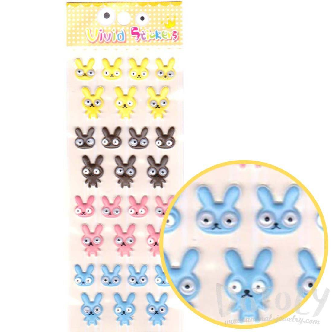 Bunny Rabbit With Googly Eyes Shaped Stickers for Kids
