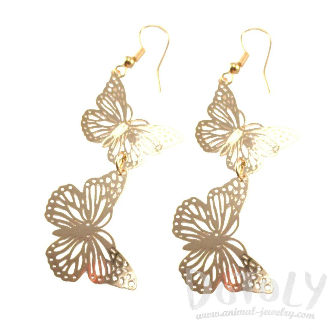 Butterfly Filigree Shaped Tiered Dangle Earrings in Gold | DOTOLY