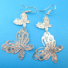 Butterfly Filigree Shaped Tiered Dangle Earrings in Silver | DOTOLY