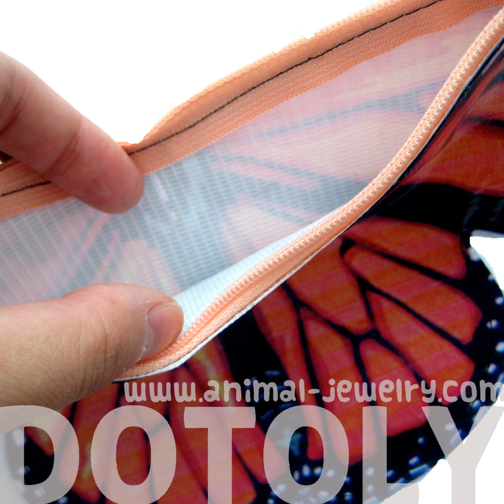Butterfly Shaped Colorful Vinyl Insect Themed Clutch Bag in Orange | DOTOLY