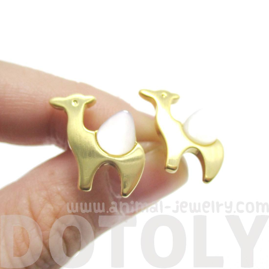 Camel Animal Themed Stud Earrings in Gold and Pearl