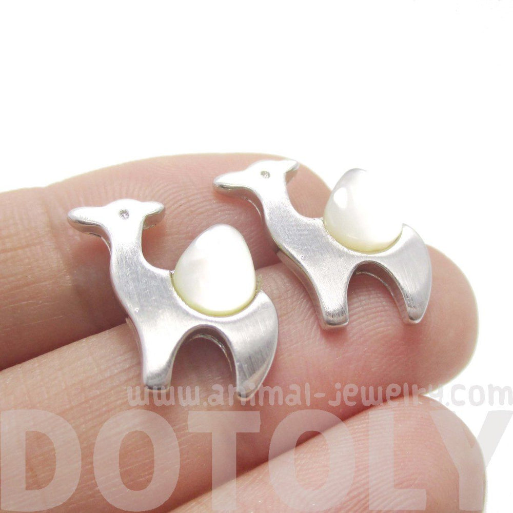 One Hump Camel Animal Themed Stud Earrings in Silver