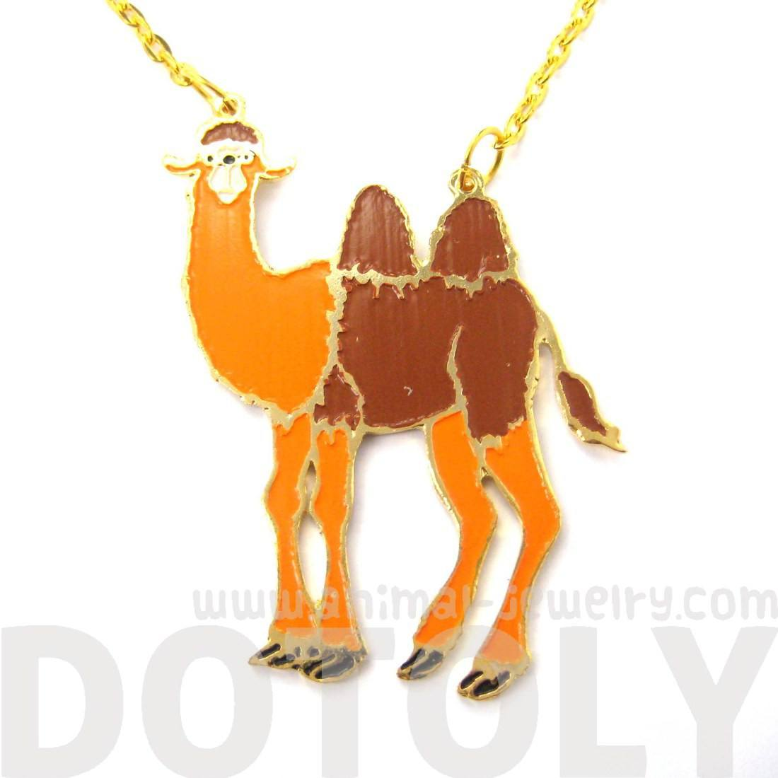 Camel Shaped Animal Cartoon Enamel Pendant Necklace | Limited Edition