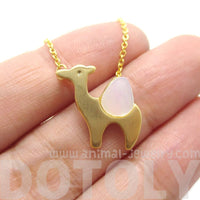 Camel Shaped Animal Themed Charm Necklace in Gold