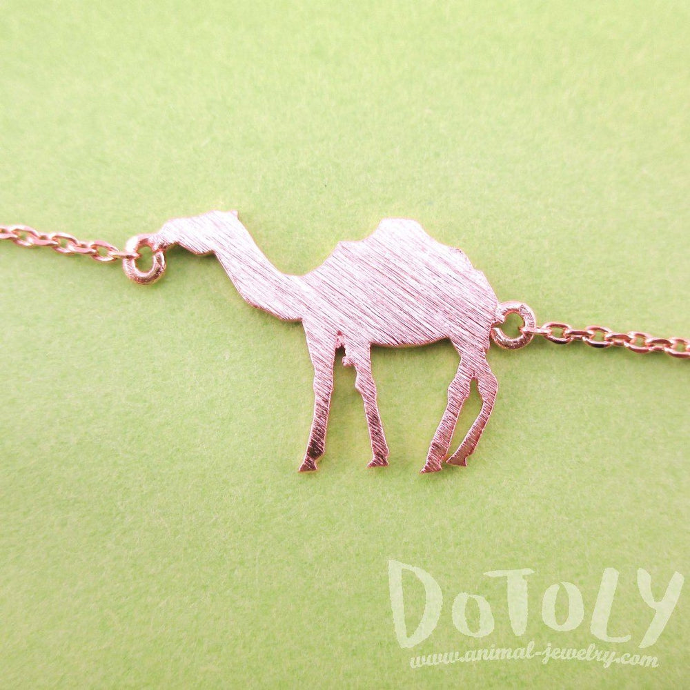 Camel Silhouette Shaped Charm Bracelet in Rose Gold | Animal Jewelry