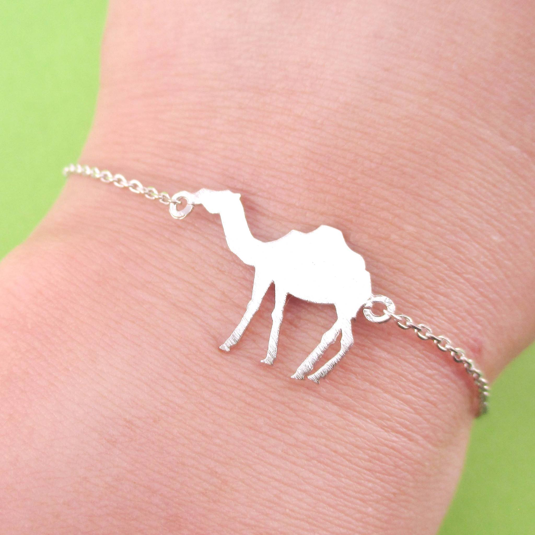 Camel Silhouette Shaped Charm Bracelet in Silver | Animal Jewelry