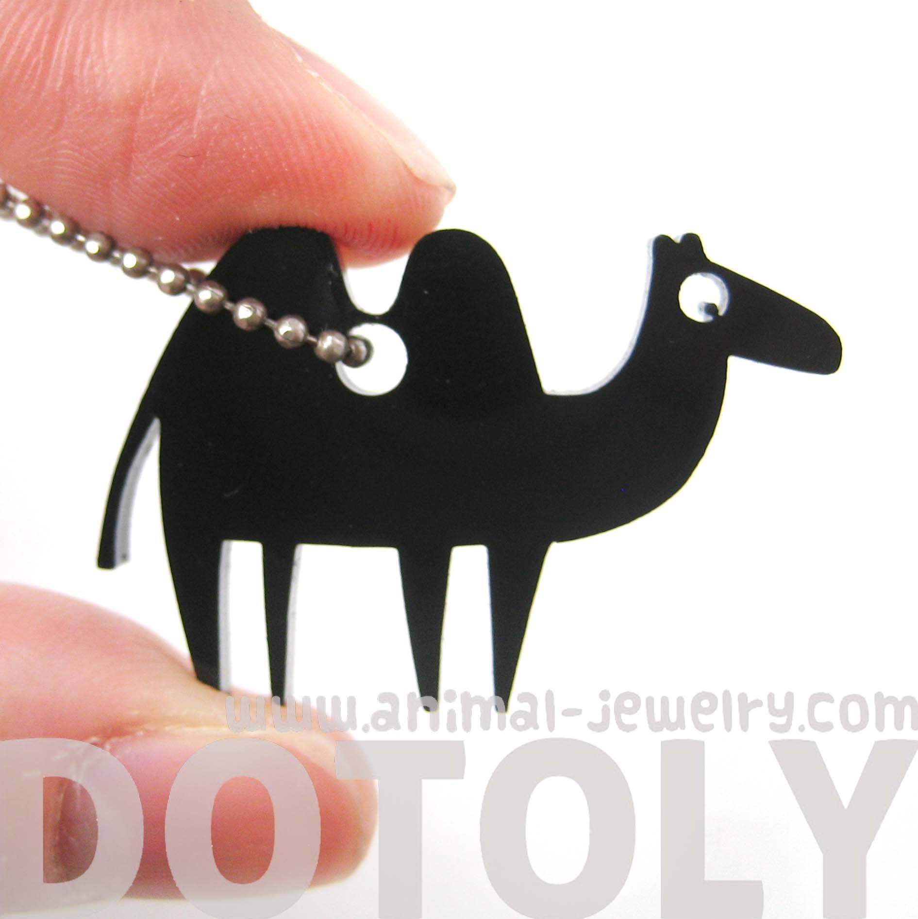 camel-silhouette-shaped-pendant-necklace-in-black-acrylic-animal-jewelry