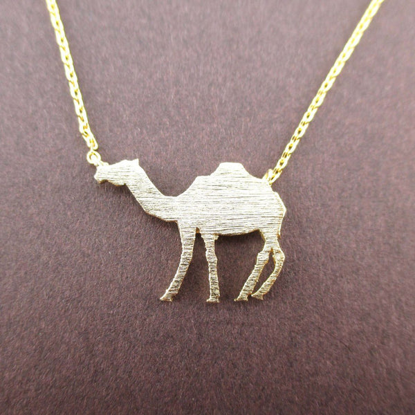 Camel Silhouette Shaped Pendant Necklace in Gold | Animal Jewelry