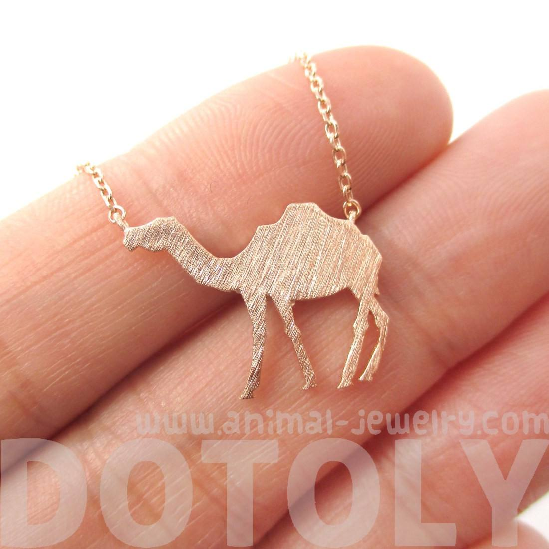 Camel Silhouette Shaped Pendant Necklace in Rose Gold