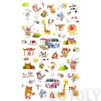 Camping Themed Giraffe Bears Birds Shaped Animal Themed Jelly Stickers