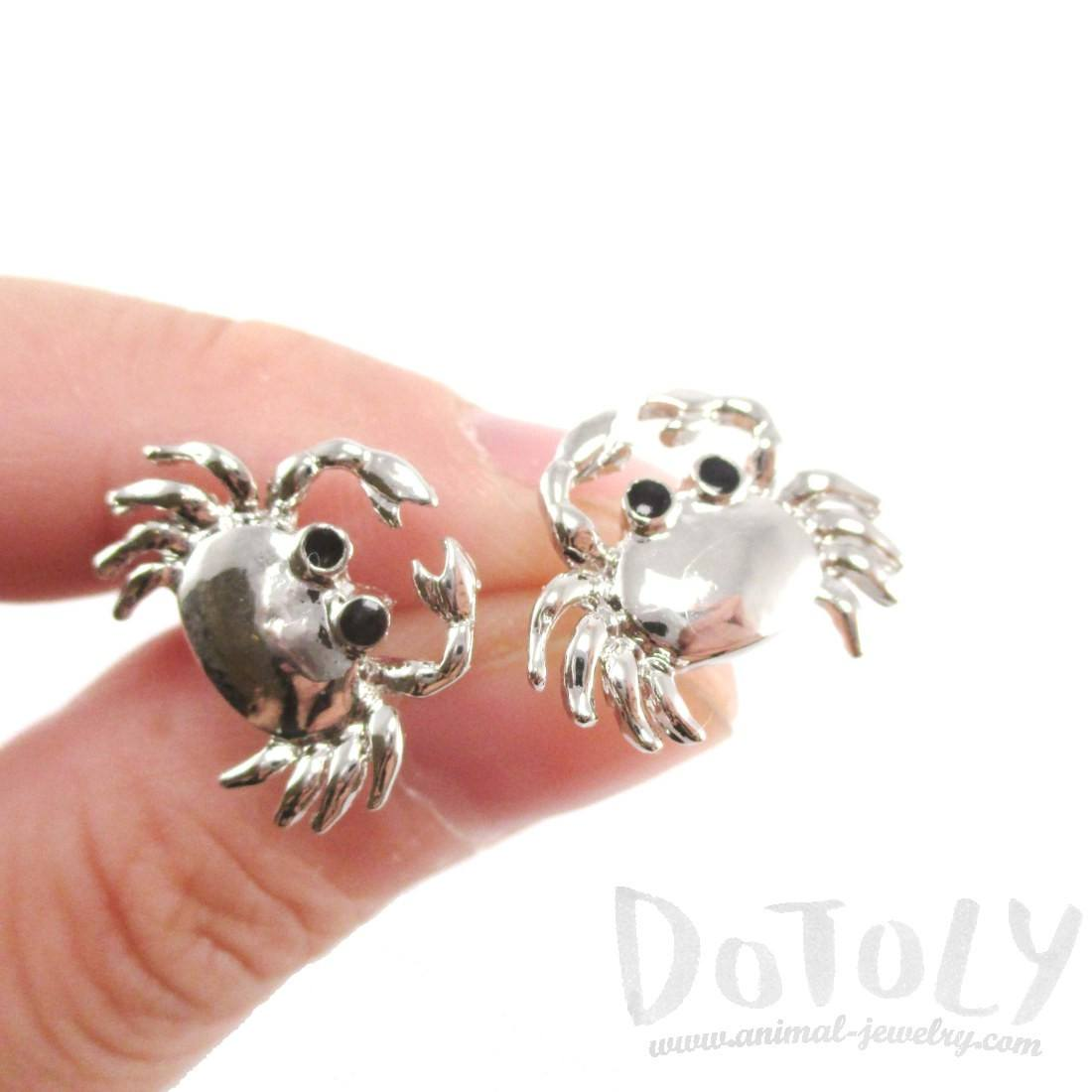 Cancer Zodiac Crab Shaped Stud Earrings in Silver