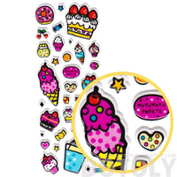 Candies Cake Ice Cream Donuts Shaped Sweets Food Themed Puffy Stickers