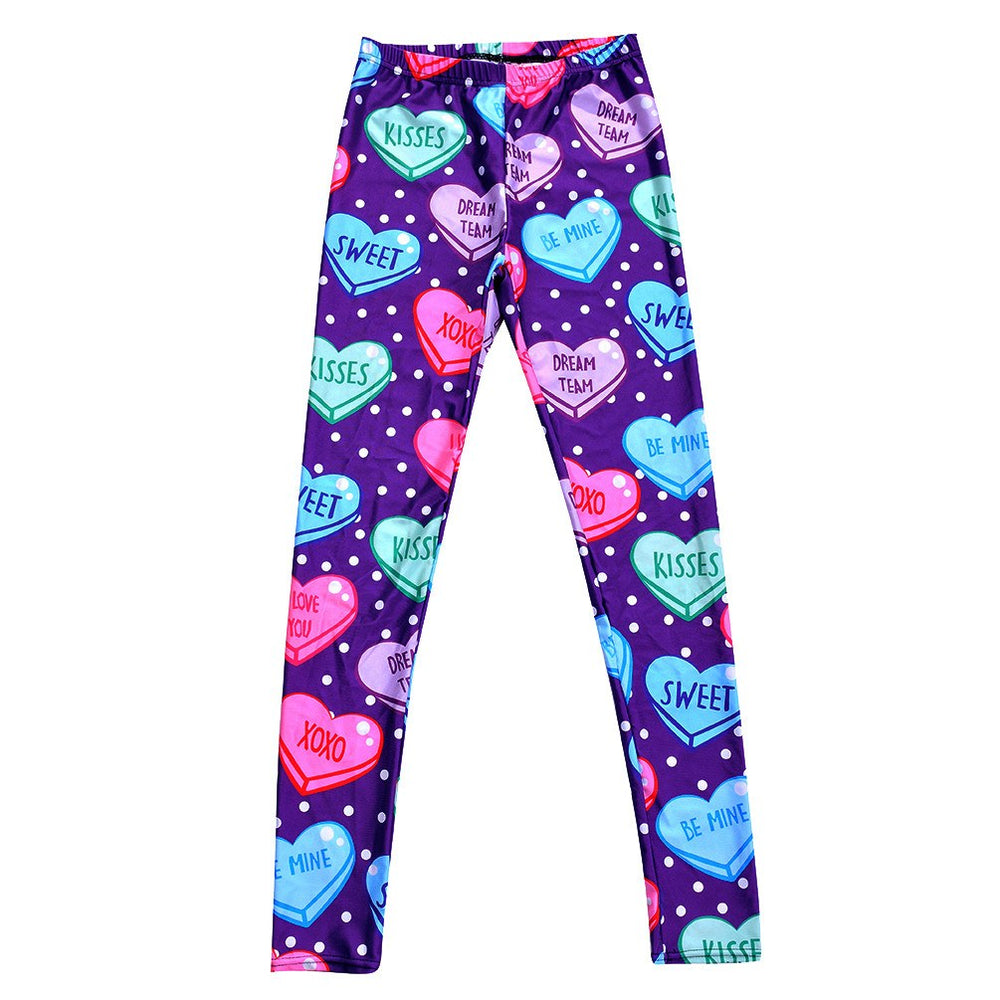 Candy Hearts Sweethearts Print Polka Dotted Legging Pants in Purple