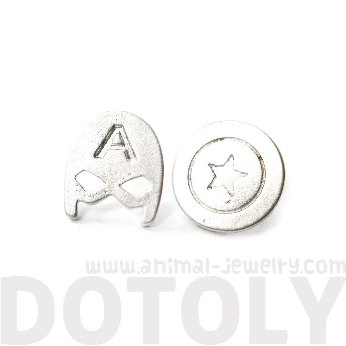 Captain America Mask and Shield Shaped Stud Earrings in Silver