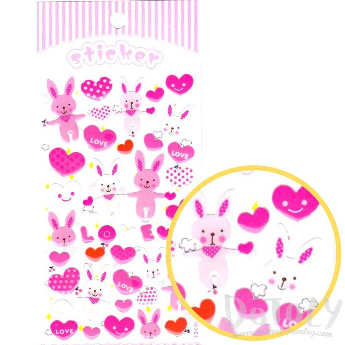 Cartoon Bunny Rabbits and Heart Shaped Stickers in Pink