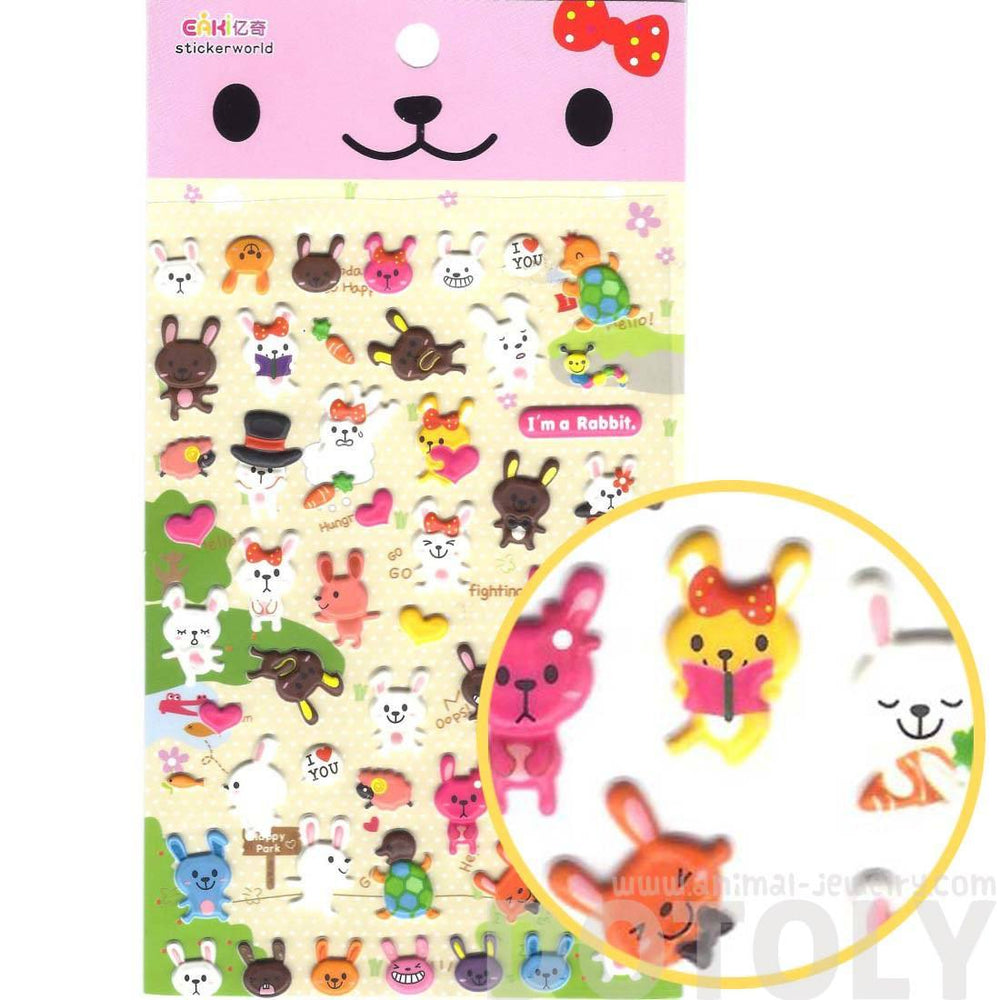 Cartoon Bunny Rabbit and Tortoise Turtle Shaped Cute Puffy Stickers
