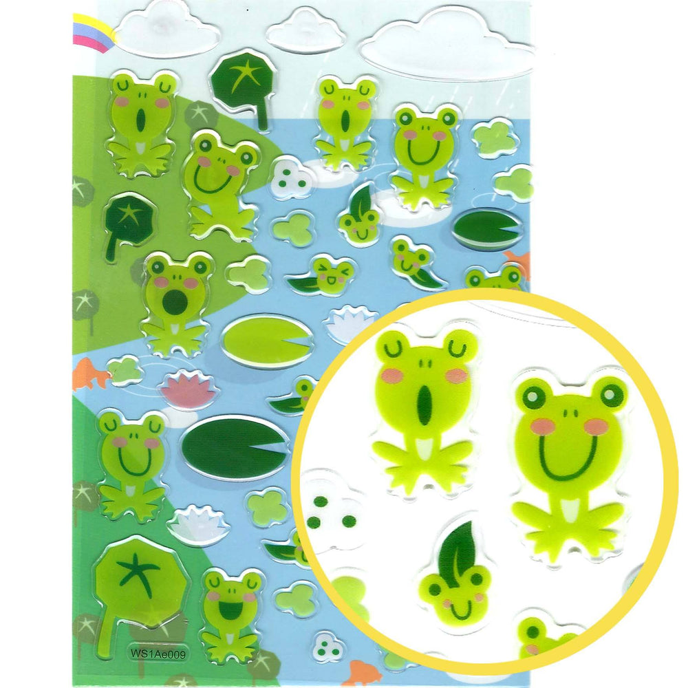 Cartoon Frog Toad Illustrated Animal Jelly Puffy Scrapbooking Stickers