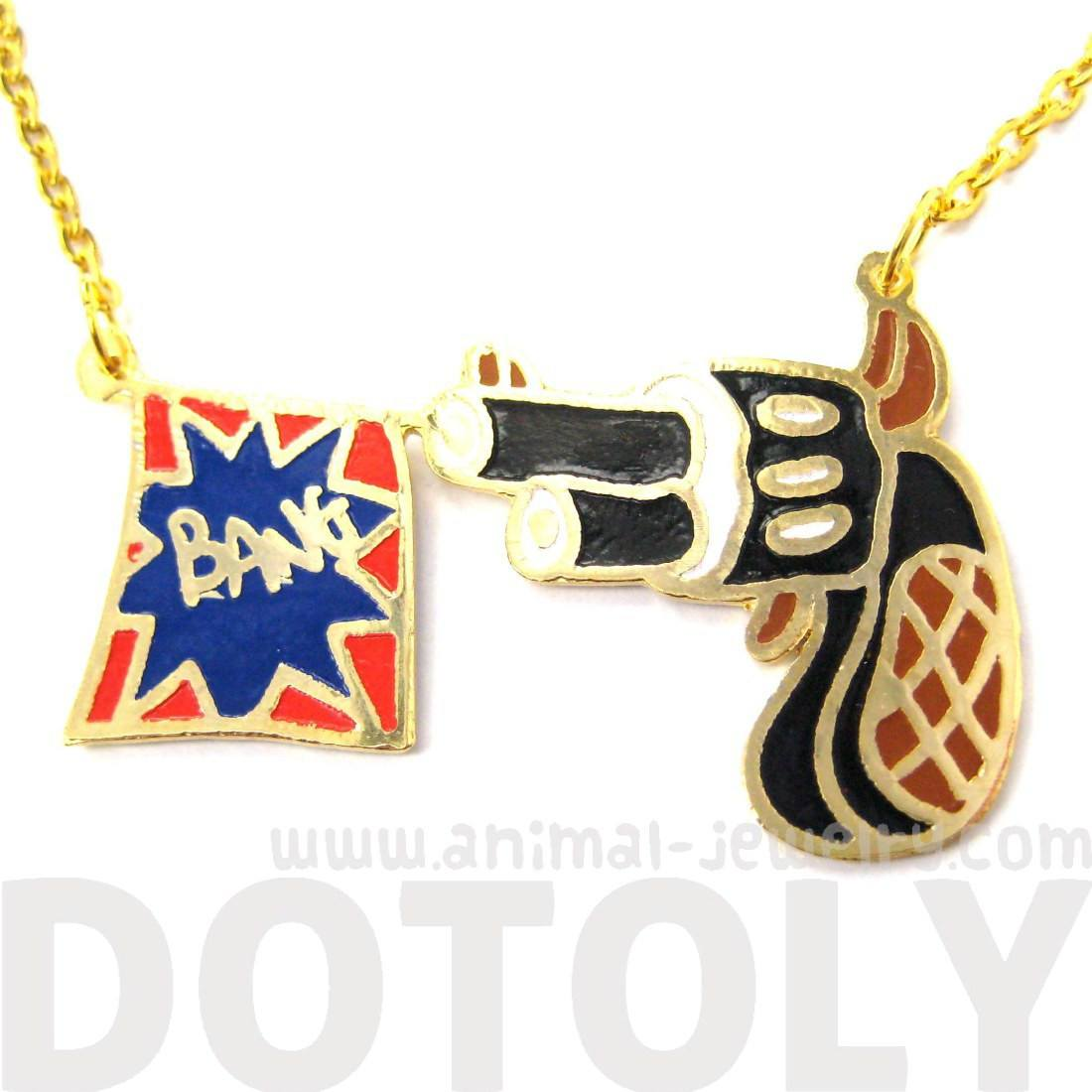 Cartoon Hand Gun Pistol and Bang Flag Shaped Pendant Necklace | DOTOLY