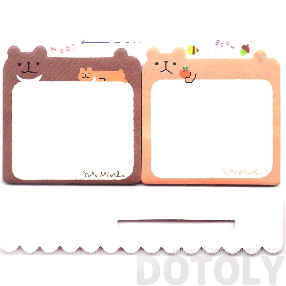 Illustrated Brown Teddy Bear Shaped Animal Sticky Post-it Memo Notepad
