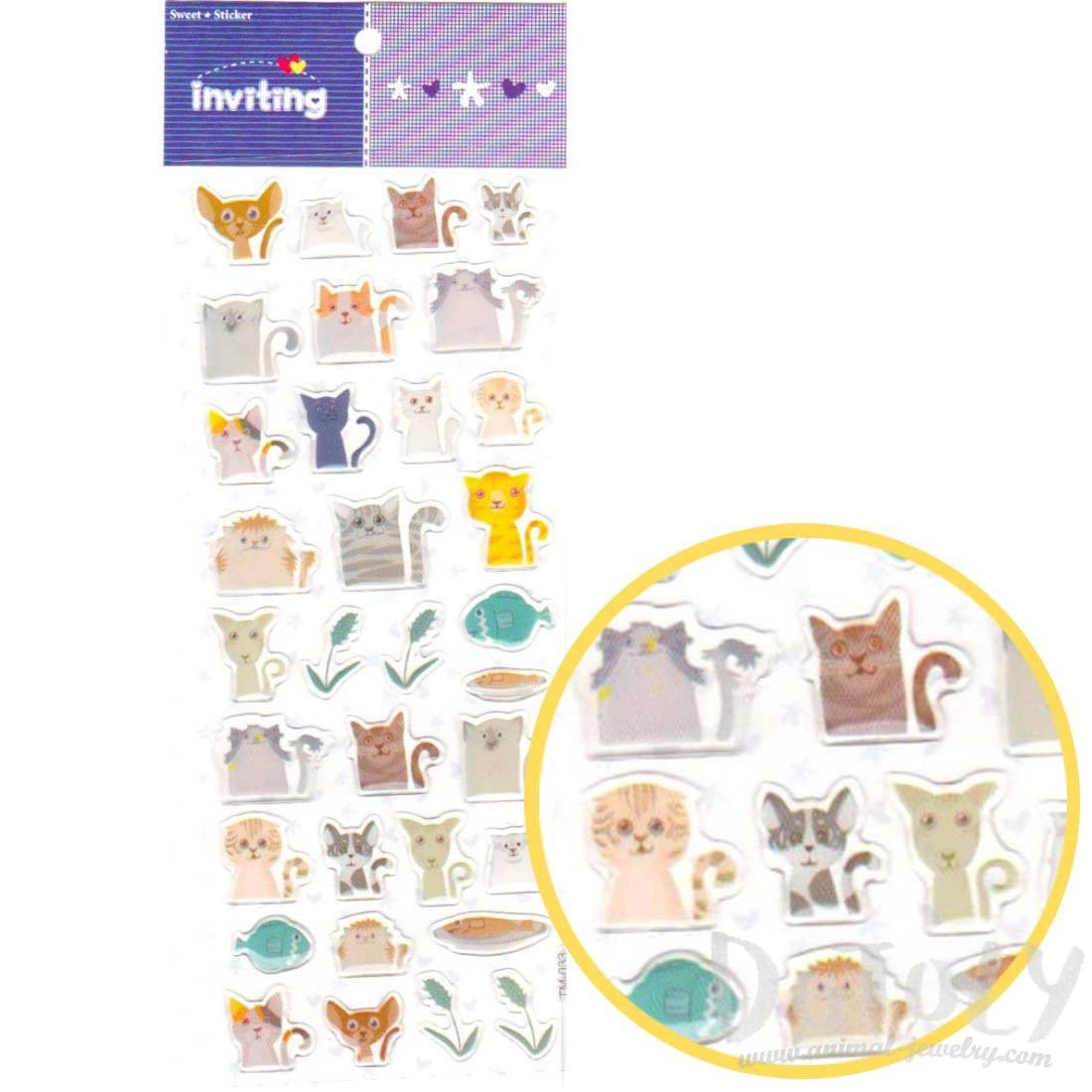 Cartoon Illustrated Kitty Cat Animal Shaped Stickers