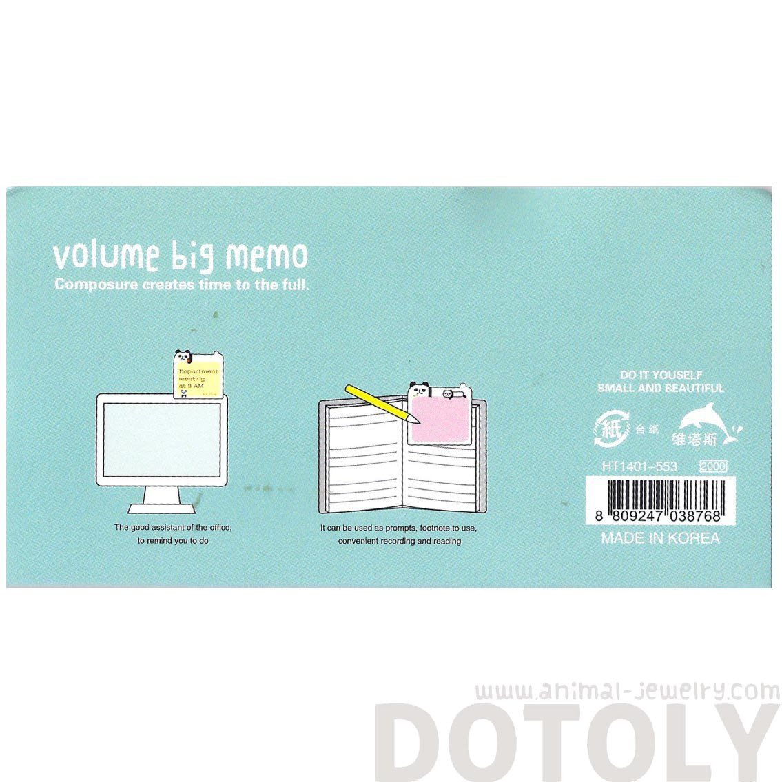 Cartoon Panda Bear Shaped Animal Themed Sticky Post-it Memo Note Pads