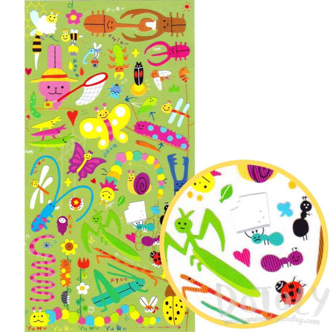Cartoon Grasshopper Beetle Bugs Insect Themed Stickers