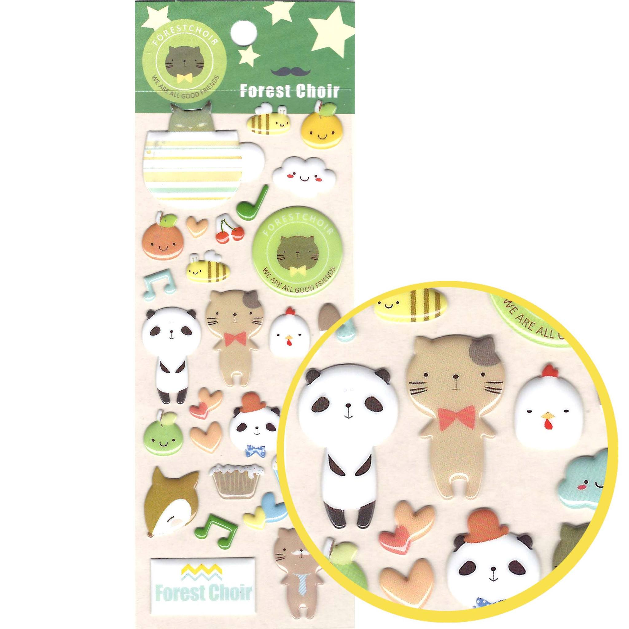Cartoon Kitty Cat Panda Shaped Animal Puffy Stickers for Scrapbooking