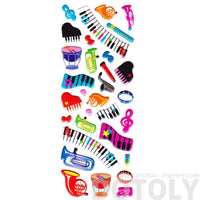 Musical Instruments Keyboards Treble Clefs Music Themed Puffy Stickers