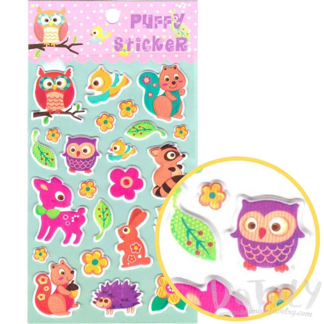 Cartoon Owl Birds Squirrel Rabbit Shaped Puffy Stickers
