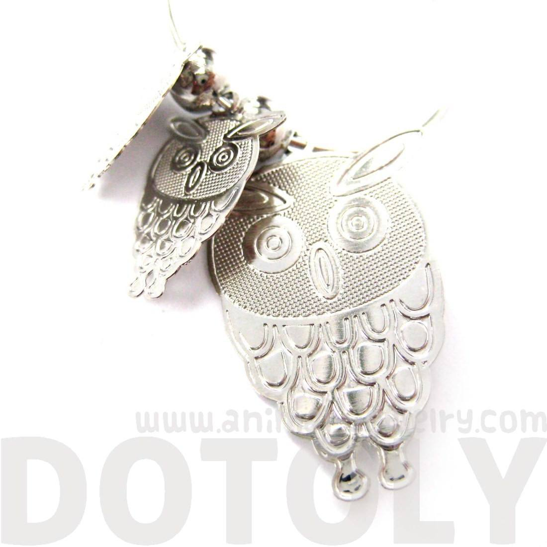 Cartoon Owl Shaped Dangle Hoop Earrings in Silver | Animal Jewelry
