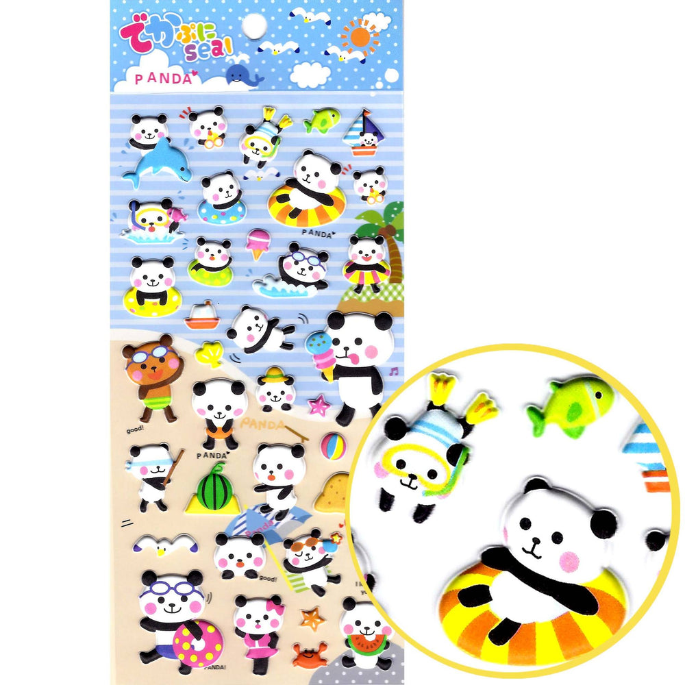 Cute Cartoon Panda Bear Beach Themed Puffy Stickers for Scrapbooking