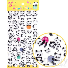 Cartoon Panda Bears in Different Poses Shaped Puffy Stickers