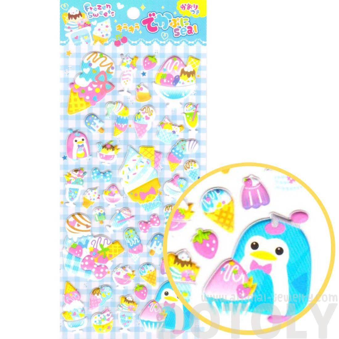 Penguin Ice Cream Desserts Food Themed Puffy Stickers