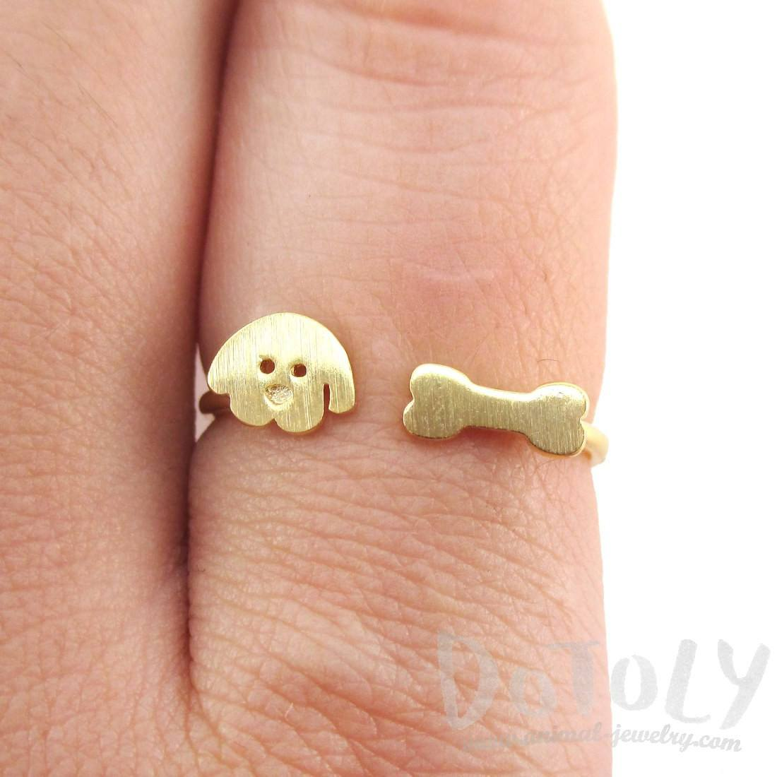 Cartoon Puppy Dog Face and Bone Shaped Adjustable Ring in Gold