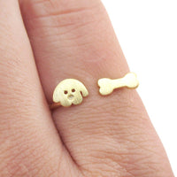 Cartoon Puppy Dog Face and Bone Shaped Adjustable Ring in Gold | DOTOLY | DOTOLY