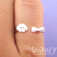 Cartoon Puppy Dog Face and Bone Shaped Adjustable Ring in Silver