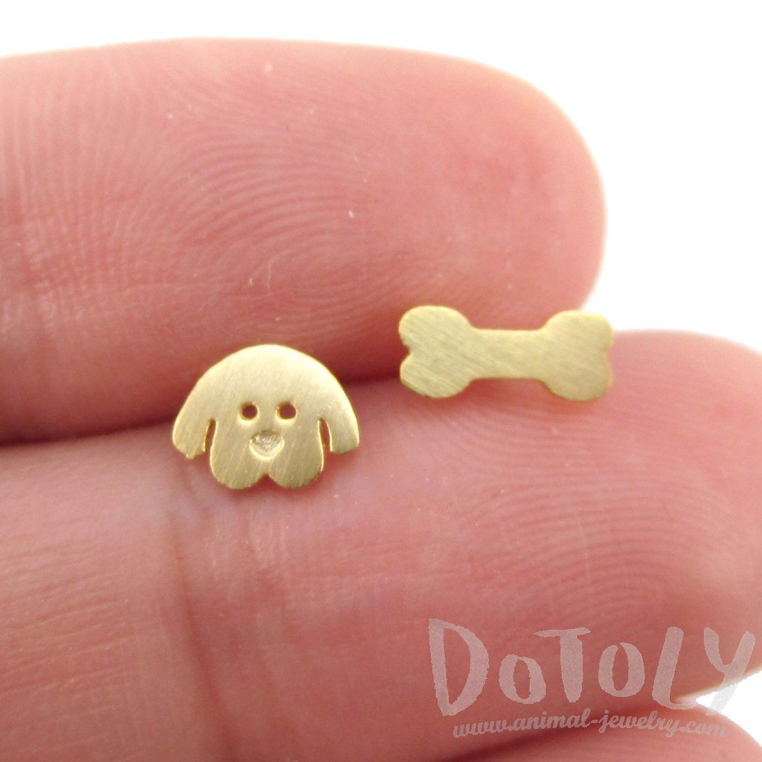 Cartoon Puppy Dog Face and Bone Shaped Stud Earrings in Gold | DOTOLY