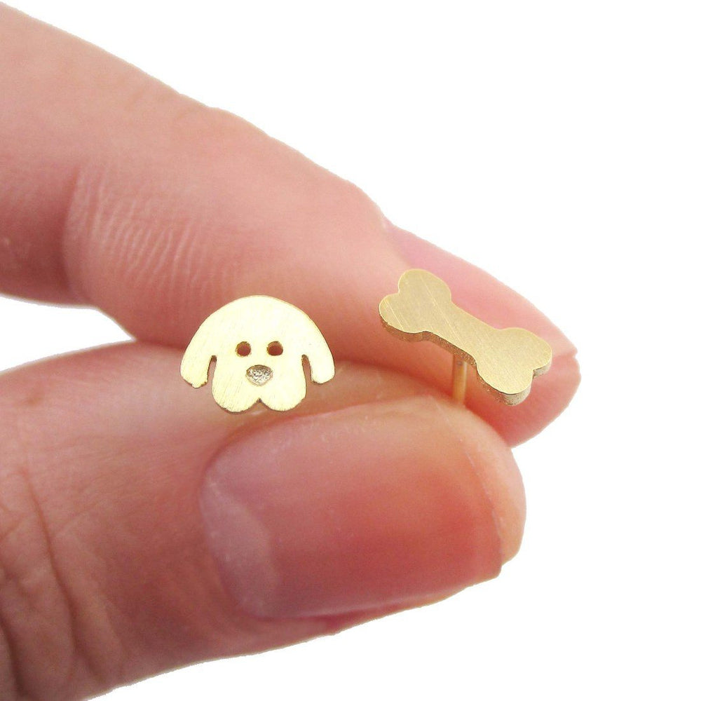 Cartoon Puppy Dog Face and Bone Shaped Stud Earrings in Gold | DOTOLY | DOTOLY