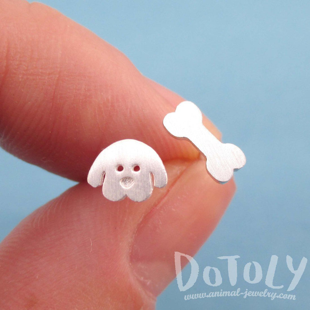 Cartoon Puppy Dog Face and Bone Shaped Stud Earrings in Silver | DOTOL