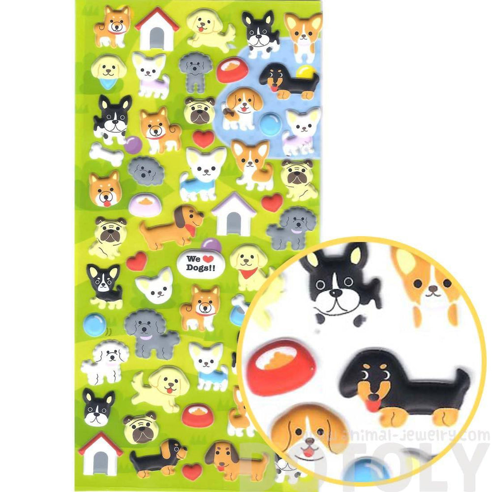 Cartoon Puppy Dog Shaped Japanese Animal Pet Themed Puffy Stickers
