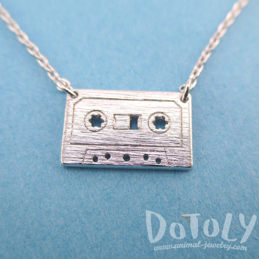 Cassette Mixed Tape Retro Friendship Pendant Necklace in Silver