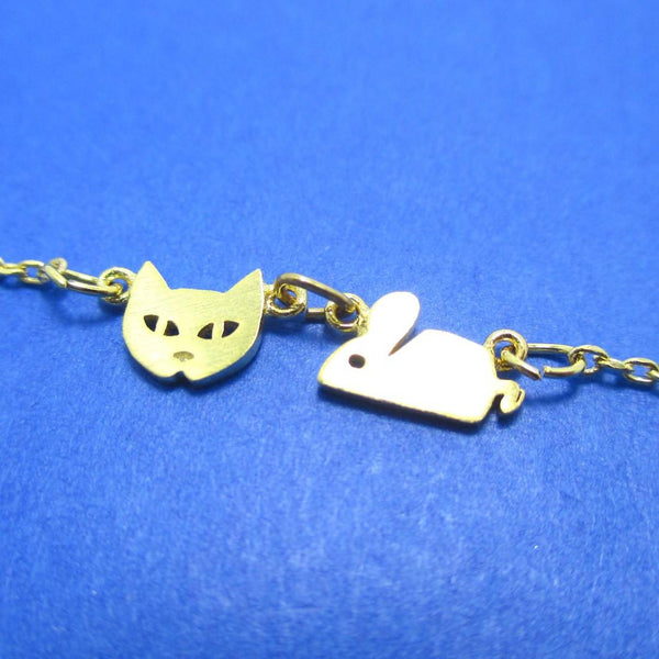 Cat and Mouse Shaped Charm Necklace in Gold | Animal Jewelry | DOTOLY