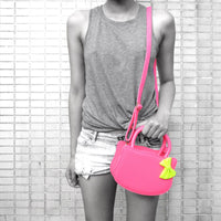 Cat Silhouette Shaped Hello Kitty Cross body Shoulder Bag in Neon Pink