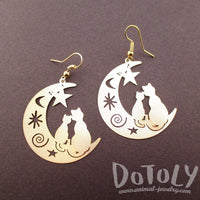 Cats on a Crescent Moon Cut Out Silhouette Shaped Dangle Earrings in Gold