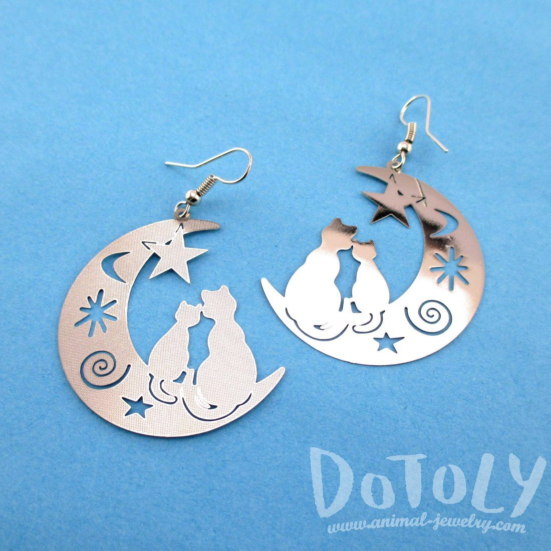 Cats on a Crescent Moon Silhouette Shaped Dangle Earrings in Silver