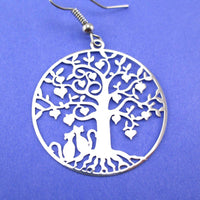 Cats Sitting under a Tree Silhouette Shaped Dangle Earrings in Silver